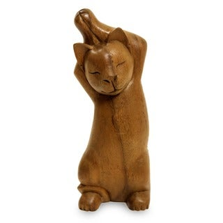Suar Wood 'Kitty Cat Stretch' Sculpture (Indonesia)
