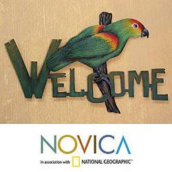 Handcrafted Steel 'Perky Parrot' Welcome Sign (Mexico)