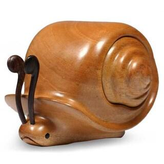 Handcrafted Mahogany Wood 'Snail Secrets' Puzzle Box (Guatemala)