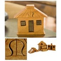 Handcrafted Mahogany Wood 'Ranch House' Puzzle Box (Guatemala)