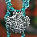 Sterling Silver 'Garden of Peace' Magnesite Necklace (India)