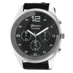 Geneva Platinum Men's Chronograph-Style Silicone Watch with Three Subdials