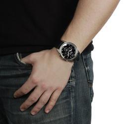 Geneva Platinum Men's Chronograph-Style Silicone Watch with Three Subdials