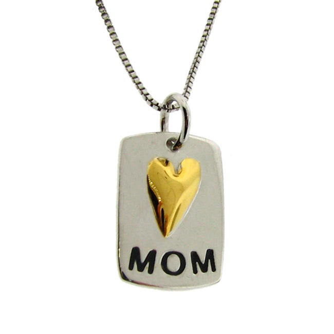 14k Gold and Sterling Silver Petite 'Mom' Necklace