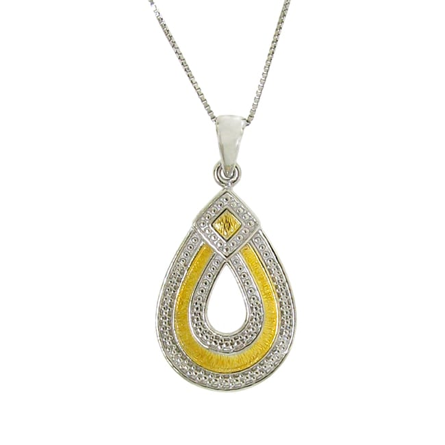 14k Gold and Sterling Silver Teardrop Necklace