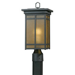 Energy-Saving Outdoor One-Light Bronze Post Light with Amber Glass