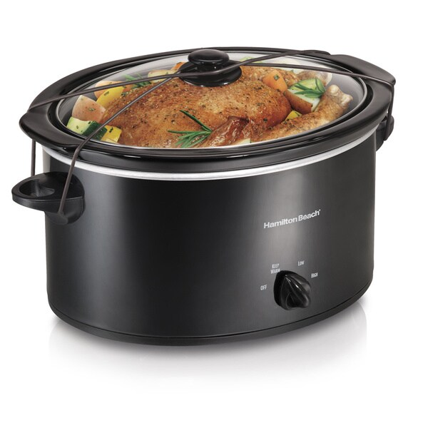 Hamilton Beach Black 5 Quart Portable Oval Slow Cooker 8209552