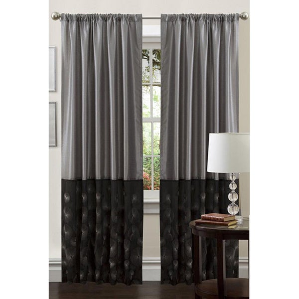 Lush Decor Black/ Silver 84-inch Ovation Curtain Panel