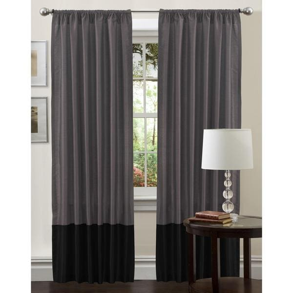Lush Decor Black/ Silver 84-inch Cocoa Flower Curtain Panel