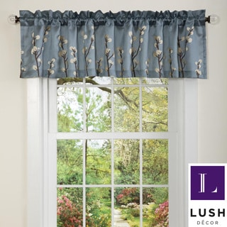 Lush Decor Blue Cocoa Flower Valance
