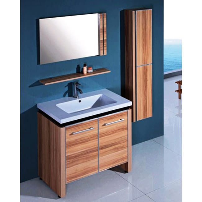 home light maple single bathroom wood vanity with mirror