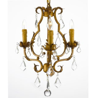 Wrought Iron Crystal Accented Mini-Chandelier