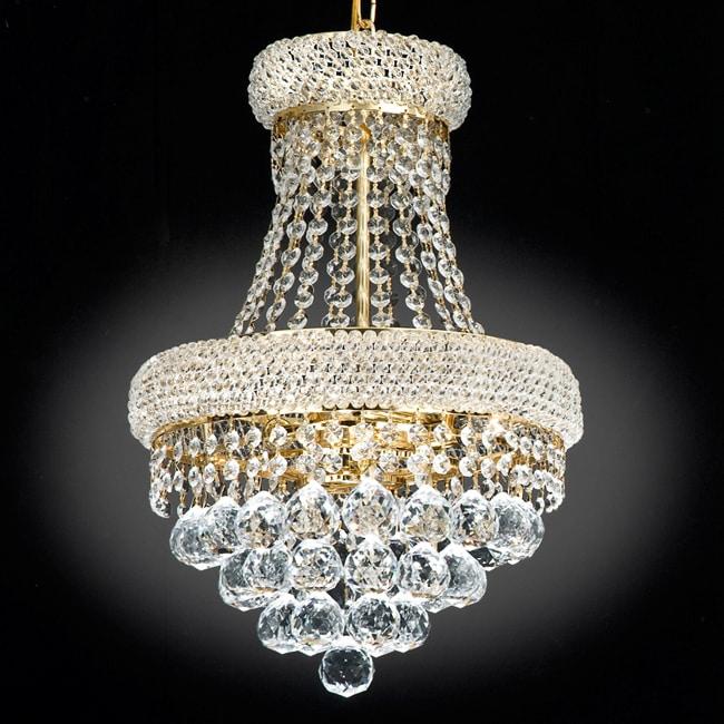 Gallery Empire Goldtone Crystal 3-Light Indoor Chandelier