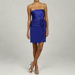 Vicky Tiel Women's Ruched Strapless Bow Dress