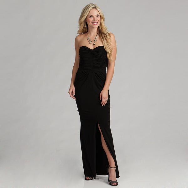 Vicky Tiel Women's Black Strapless Ruched Gown