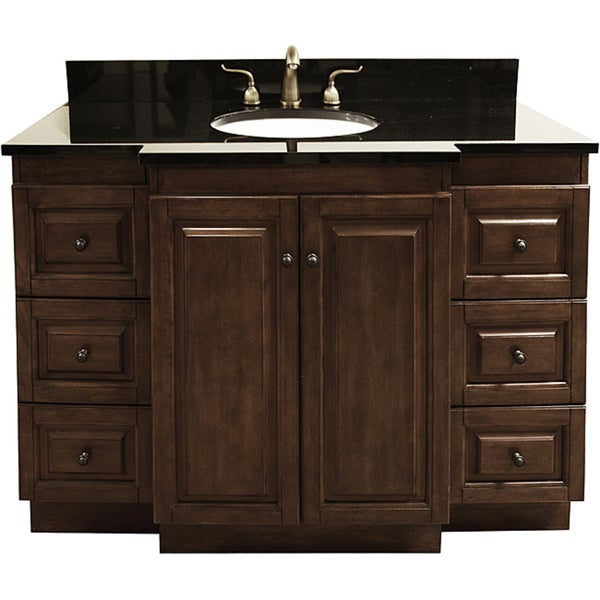 Granite Top 48 Inch Single Sink Bathroom Vanity With Antique Brass