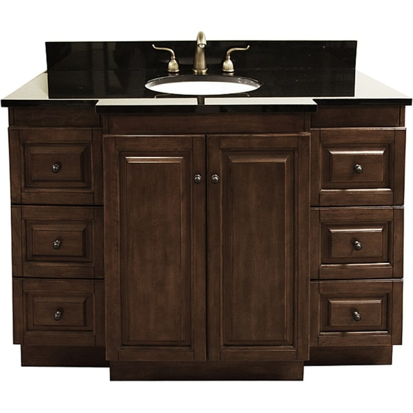 GraniteTop 48Inch SingleSink Bathroom Vanity with Antique Brass