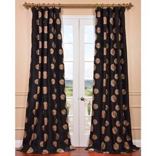 Zen Garden Black Embroidered Faux Silk 96-inch Curtain Panel