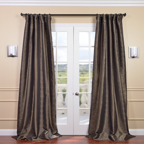 Exclusive Fabrics Larus Mushroom Embroidered Faux Silk 108-inch Curtain Panel