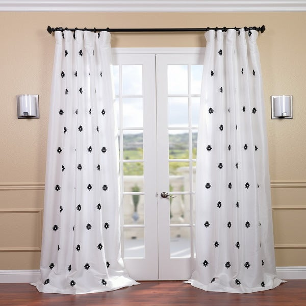 Mirror White Embroidered Faux Silk 120-inch Curtain Panel
