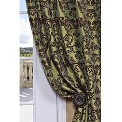 Flocked Firenze Fern Green Faux Silk 120-inch Curtain Panel