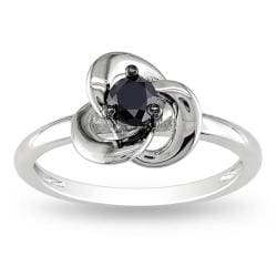 M by Miadora Highly Polished Sterling Silver 1/4ct TDW Black Diamond Ring