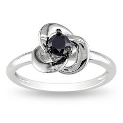 Miadora Highly Polished Sterling Silver 1/4ct TDW Black Diamond Ring