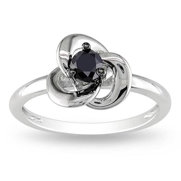 Haylee Jewels Highly Polished Sterling Silver 1/4ct TDW Black Diamond Ring