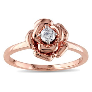Miadora 10k Pink Gold 1/6ct TDW Diamond Flower Ring (G-H, I2-I3)