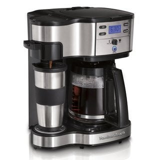 Hamilton Beach Two-way Brewer Single Serve and 12-cup Coffee Maker with Travel Mug