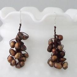 Cotton/ Silver Bronze Pearl Cluster Dangle Earrings (5-10 mm) (Thailand)