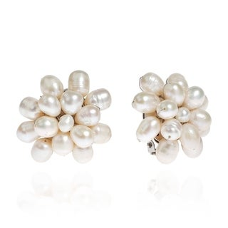 White Pearl Cluster Pretty Clip-on Earrings (5-6 mm) (Thailand)