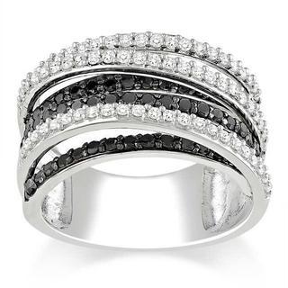 Miadora 10k White Gold 1ct TDW Black and White Diamond Crossover Ring (G-H, I3)