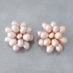 Pink Pearl Cluster Sweet Clip-on Earrings (5-6 mm) (Thailand)