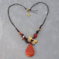 Brass and Cotton Rope Earthy Butterfly Teardrop Necklace (Thailand)