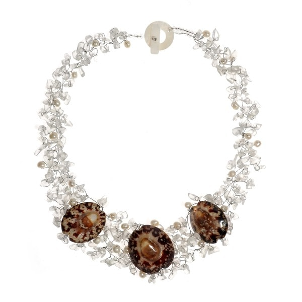Brown Limpet Sea Shells and White Pearl Necklace (5-7 mm) (Thailand)