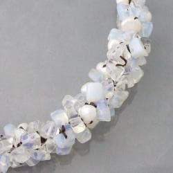 Cotton Glowing Pearl and Moonstone Choker Necklace (6-8 mm) (Thailand)