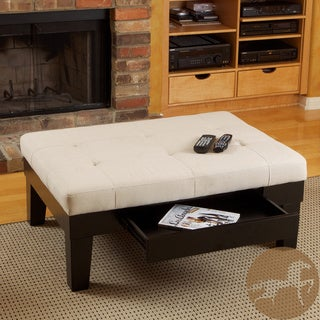 Christopher Knight Home Chatham Ivory Linen Storage Ottoman