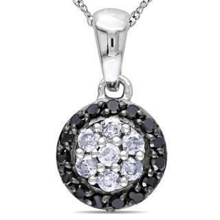Miadora 10k White Gold 1/4ct TDW Black and White Diamond Necklace (G-H, I2-I3)