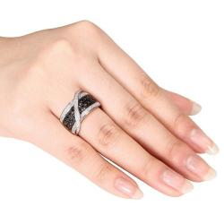 Miadora Sterling Silver 1/2ct TDW Black and White Diamond Ring (G-H, I3)