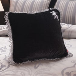 English Laundry Bury Black Velvet Fringed Decorative Pillow