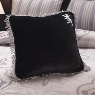English Laundry Bury Black Velvet Fringed Decorative Pillow