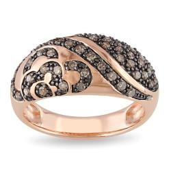Miadora Pink Silver 1/2ct TDW Brown Diamond  Ring