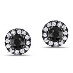 Miadora Sterling Silver 1ct TDW Black and White Diamond Halo Earrings(G-H, I2-I3)