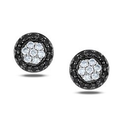Miadora Sterling Silver 1/4ct TDW Black and White Diamond Halo Earrings(G-H, I2-I3)