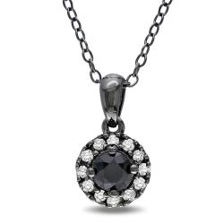 Miadora Sterling Silver 1/2ct TDW Black and White Diamond Necklace (G-H, I2-I3)