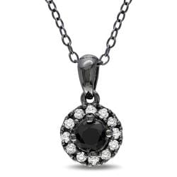M by Miadora Sterling Silver 1/3ct TDW Black and White Diamond Necklace (G-H, I2-I3)