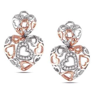 Miadora Sterling Silver 1/4ct TDW Diamond Heart Earrings (G-H, I3)