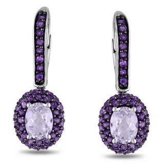 Miadora Sterling Silver Rose de France and Amethyst Dangle Earrings