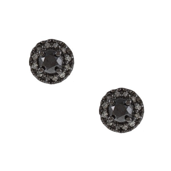 Sterling Silver 1/2ct TDW Black and White Diamond Halo Earrings(G-H, I2-I3)
